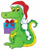 Christmas crocodile theme image 1 - vector illustration.