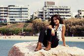 Young Girl At Mediterranean Sea