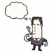 cartoon thoughtful man smoking