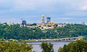 Kiev Pechersk Lavra Orthodox Monastery. View From The Paton Bridge. Ukraine