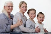 stock photo of foursome  - young and older female foursome - JPG