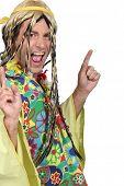 stock photo of swinger  - Man in a hippie costume - JPG