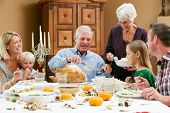 stock photo of granddaughters  - Multi Generation Family Celebrating Thanksgiving - JPG