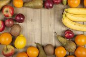 Fruits on wooden planks