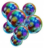 Colorful mirror disco balls