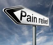 pain relief or management by painkiller or other treatment chronic back injury road sign with text