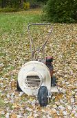 picture of leaf-blower  - old rusty leaf blower for lawn maintenance in the autumn - JPG