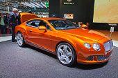 GENEVA - MARCH 8: The Bentley Continental on display at the 81st International Motor Show Palexpo-Geneva on March 8; 2011 in Geneva, Switzerland.
