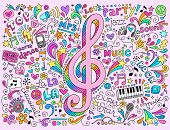stock photo of g clef  - Music Notes G Clef Groovy Doodles Vector Illustration Hand - JPG
