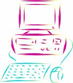 pic of dtp  - abstract retro desktop pc computer sketch illustration - JPG