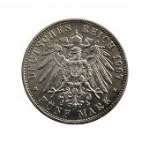 Old silver coin - five German marks  isolated on white