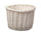 White empty wicker basket isolated on white