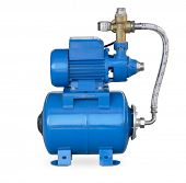 Blue electric high pressure water pump isolated on white