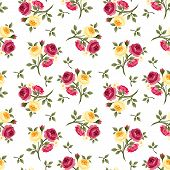 image of english rose  - Vector seamless pattern with red and yellow English roses - JPG