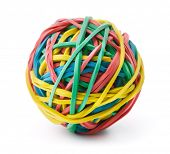 stock photo of boredom  - Colorful rubber band ball isolated on white - JPG