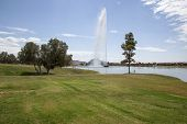 stock photo of fountain grass  - Fountain spray shooting high in the sky in Fountain Hills Arizona - JPG