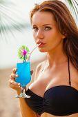 woman wearing bikini closeup portrait