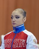 KIEV, UKRAINE - MARCH 31: Aliya Mustafina of Russia before the competition on uneven bars during Int