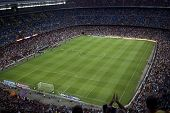 BARCELONA, SPAIN - AUGUST 18: A sold out Barcelona football stadium Camp Nou during the match between FC Barcelona and FC Levante on August 18, 2013 in Barcelona, Spain.