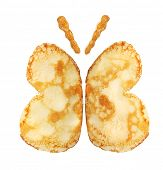 Pancakes butterfly isolated on white background.