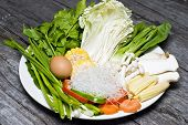 picture of shabu  - close up mix vegetable set for shabu shabu - JPG