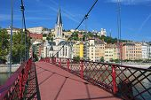 View Of Lyon City From Red Footbridge