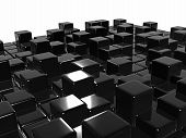 Abstract Background Glossy Black Cubes
