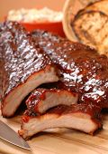 Delicious BBQ ribs with toasted bread, cole slaw and a tangy BBQ sauce