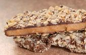 image of pecan  - Delicious Dark Chocolate English Toffee with chopped pecan nuts - JPG