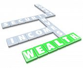 The words Wealth, Invest, Security, Money and Income on letter tiles from a board game to illustrate