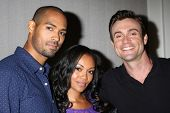 LOS ANGELES - AUG 24:  Lamon Archey, Mishael Morgan, Daniel Goddard at the Young & Restless Fan Club