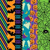 Vector Collection of Halloween Themed Seamless Tileable BackgroundsPrint