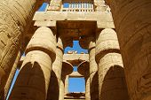 foto of scribes  - Columns at Karnak Temple Luxor Egypt in summer - JPG
