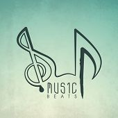 Vintage music background with musical note.