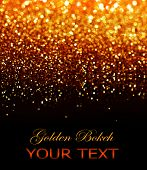 Gold Festive Background. Abstract Golden Christmas and New Year Bokeh blinking background with copyspace