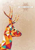 pic of geometric shape  - Trendy Christmas colorful reindeer geometric elements snowflakes background illustration - JPG