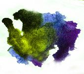 0_watercolor Splash Purple, Green Isolated Spot Handmade Colored Background Annotation Ink On Paper.
