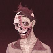 Zombie portrait. Horror and vector illustration