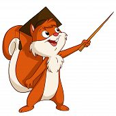 Cartoon Squirrel In Graduated Hat With Pointer