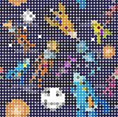 Seamless pattern cartoon children astronauts in the style of pixelation