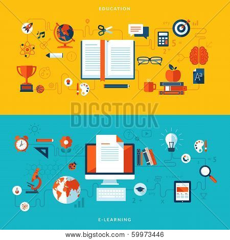 Flat design vector illustration concepts of education and online learning poster