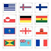 stock photo of gibraltar  - National Flags of Greece Faroe Islands Finland Greenland Germany Ghana Guam Georgia Gibraltar Gibraltar Fiji and France on Metal Texture Plates with Screws - JPG