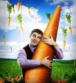 Huge carrot and man