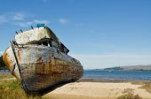 stock photo of shipwreck  - Old Shipwrecked Boat in Tomales Bay California - JPG