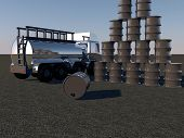 pic of fuel tanker  - Oil barrels and tanker over asphalt 3d render - JPG
