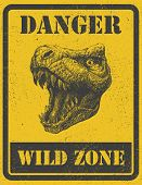 stock photo of dinosaur  - warning sign - JPG