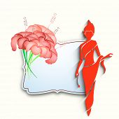 Happy Womens Day greeting card or poster design with red silhouette of a woman and flower with space for your text.