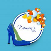 Happy Womens Day greeting card or poster design with shiny blue ladies shoe with sticker and heart s