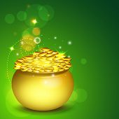 Happy St. Patrick's Day celebration poster, banner or flyer with golden pot full of gold coins on green background.