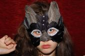pic of catwomen  - Young beautiful caucasian girl wearing a cat mask - JPG